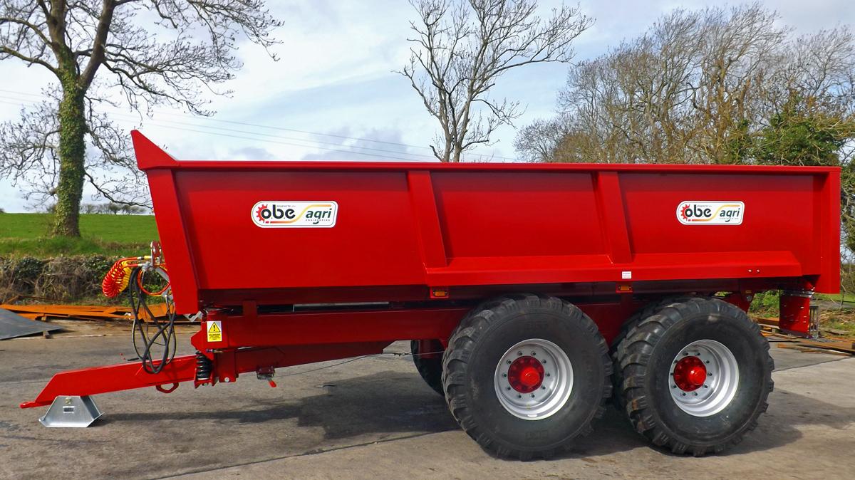 Red dump trailer