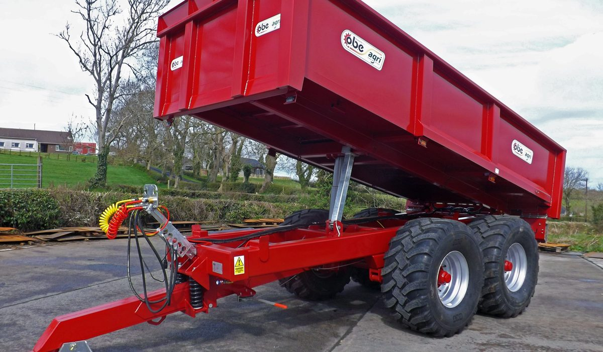 Red dump trailer tipping