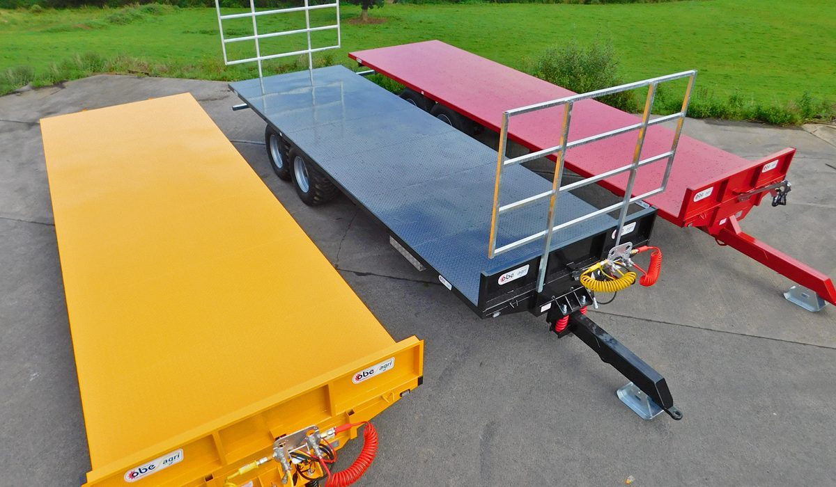 Three OBE Agri bale trailers